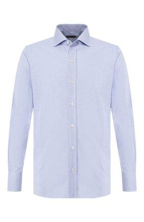 Мужская хлопковая сорочка TOM FORD голубого цвета, арт. 6FT603/94S1AX | Фото 1