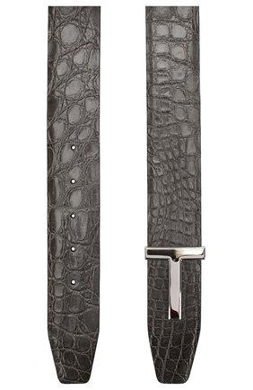 Мужской ремень из кожи каймана TOM FORD серого цвета, арт. TB178P-A19/CYAC | Фото 2
