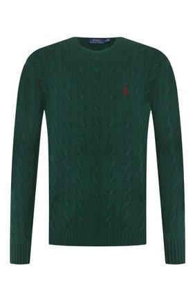 Мужской свитер из шерсти и кашемира POLO RALPH LAUREN зеленого цвета, арт. 710719546 | Фото 1 (Длина (для топов): Стандартные; Материал внешний: Шерсть; Принт: Без принта; Рукава: Длинные; Статус проверки: Проверена категория; Мужское Кросс-КТ: Свитер-одежда)