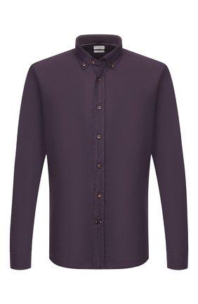 Мужская хлопковая рубашка BRUNELLO CUCINELLI фиолетового цвета, арт. ML6863008 | Фото 1