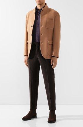 Мужская хлопковая рубашка BRUNELLO CUCINELLI фиолетового цвета, арт. ML6863008 | Фото 2
