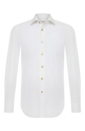 Мужская хлопковая сорочка KITON белого цвета, арт. UCIDFAP2/H0003401/P5 | Фото 1