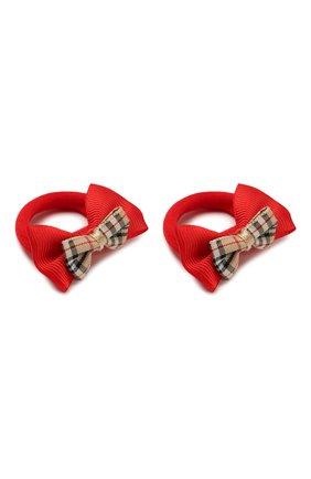 Детская комплект 2-х резинок и 2-х заколок JUNEFEE красного цвета, арт. 6229 | Фото 4