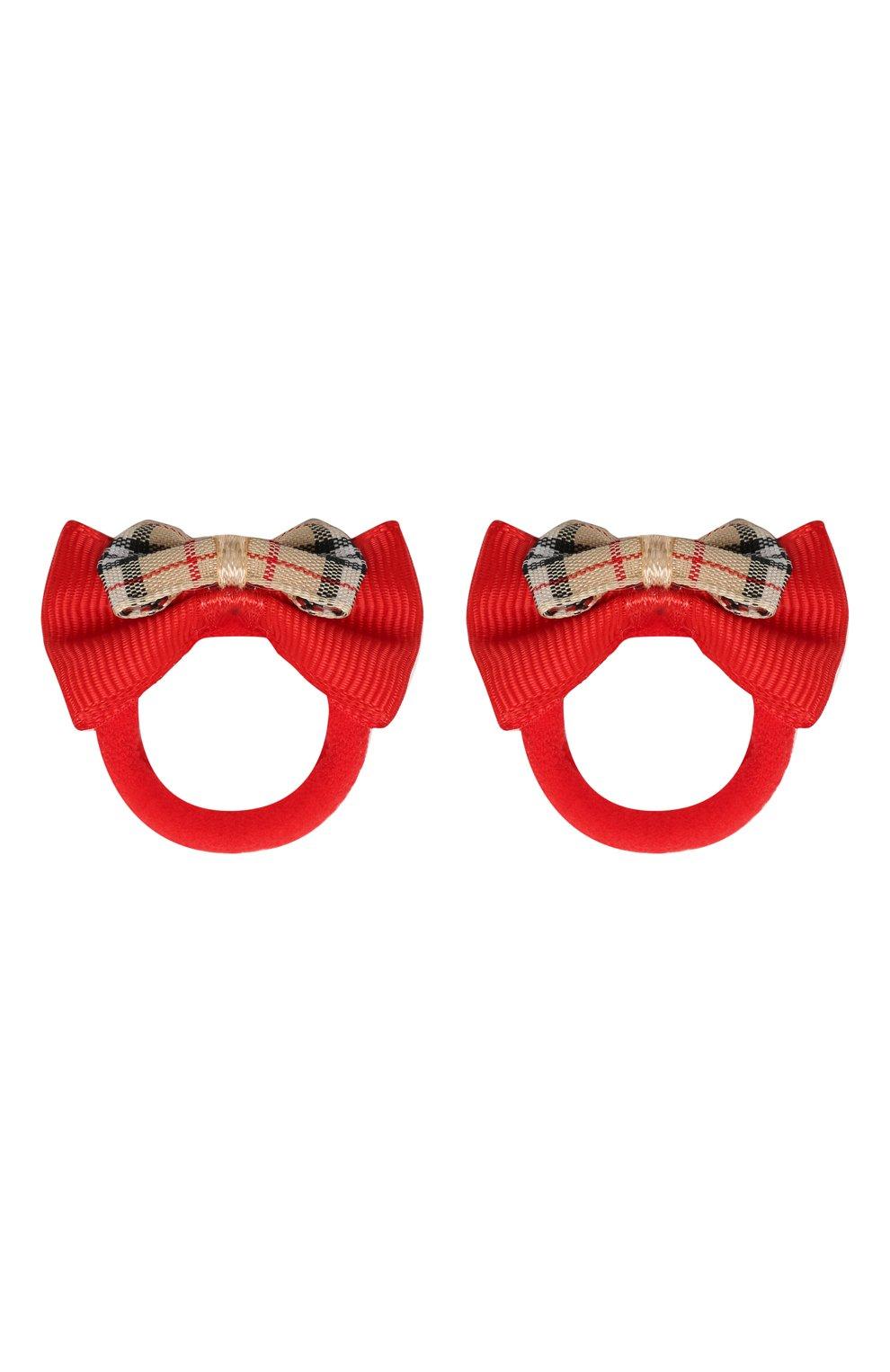 Детская комплект 2-х резинок и 2-х заколок JUNEFEE красного цвета, арт. 6229 | Фото 5