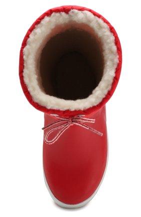 Детские резиновые сапоги с шерстяной отделкой AIGLE красного цвета, арт. 245383/GIB0ULEE | Фото 4