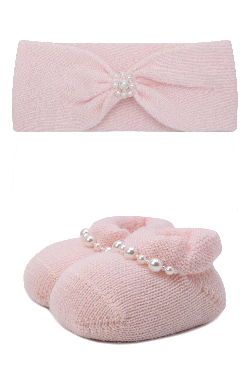 Детские комплект из пинеток и повязки на голову LA PERLA розового цвета, арт. 48532 | Фото 1