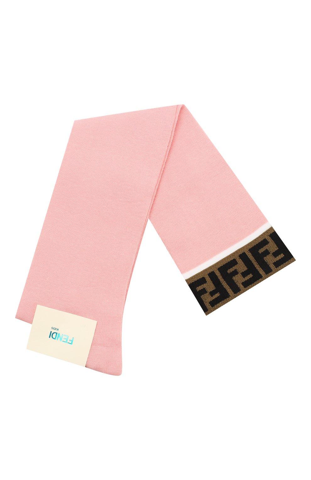 Детские хлопковые гольфы FENDI розового цвета, арт. JFN026/A8Y8 | Фото 1