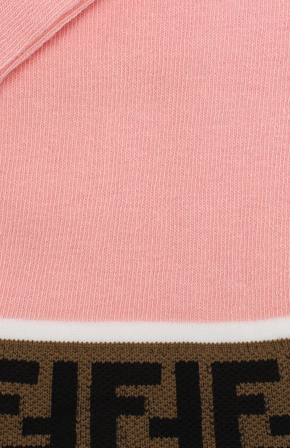 Детские хлопковые гольфы FENDI розового цвета, арт. JFN026/A8Y8 | Фото 2