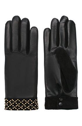 Женские кожаные перчатки AGNELLE черного цвета, арт. ISABEL/C100 | Фото 2