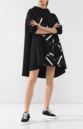 Женские текстильные кеды tricks VALENTINO черного цвета, арт. SW2S0P35/YAC   Фото 2
