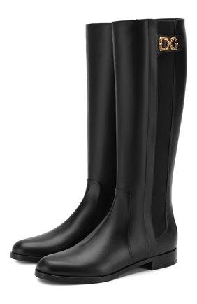 Женские кожаные сапоги rodeo DOLCE & GABBANA черного цвета, арт. CU0597/A3444 | Фото 1