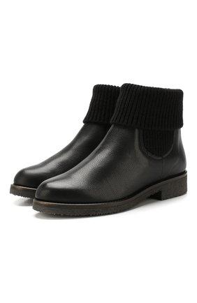 Женские кожаные ботинки с меховой отделкой BALDAN черного цвета, арт. 1705/INGAR0 | Фото 1