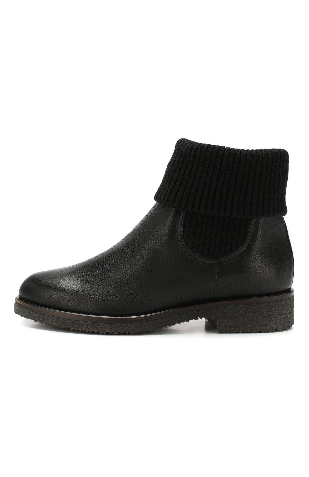 Кожаные ботинки с меховой отделкой | Фото №3