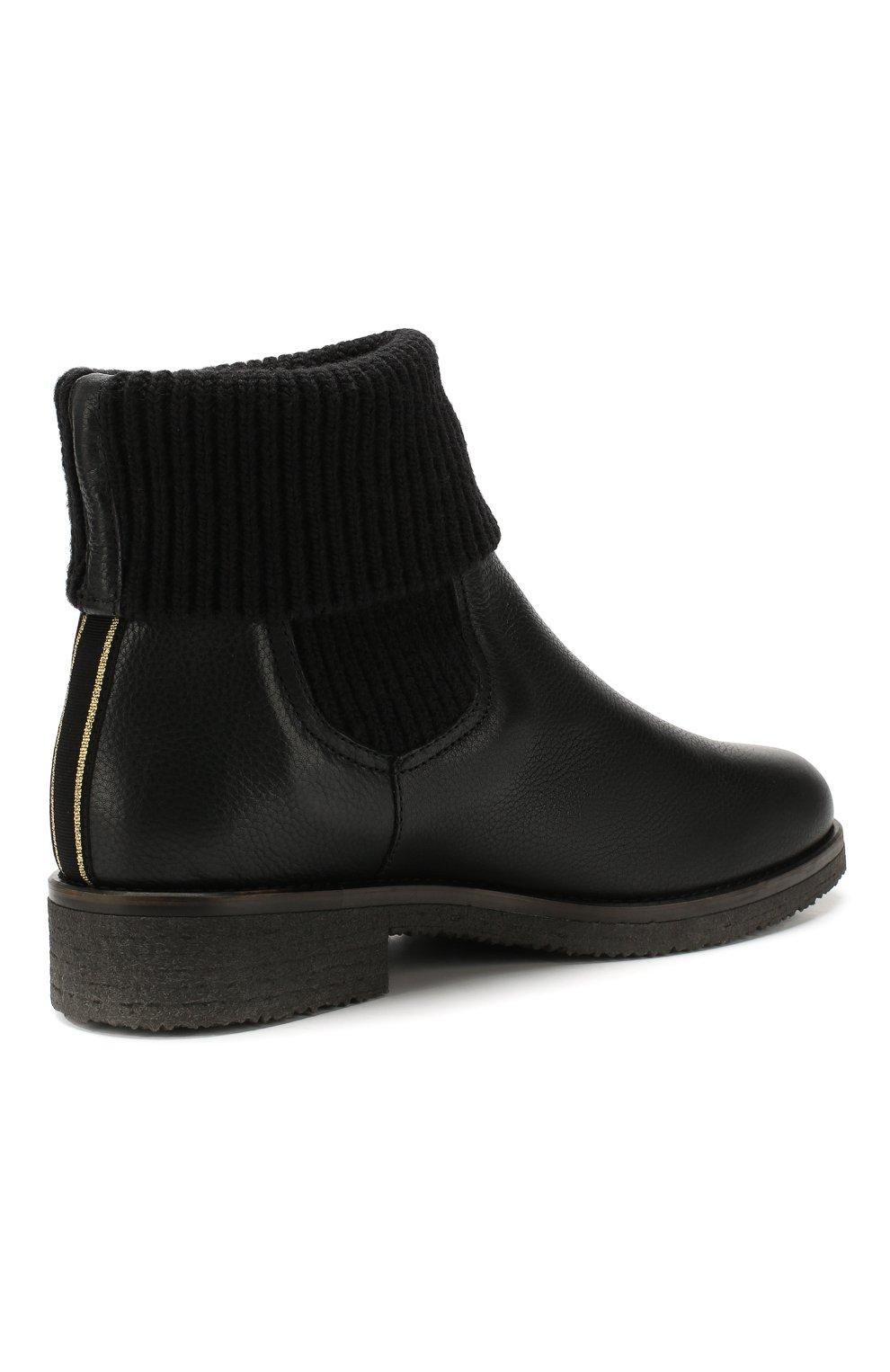 Кожаные ботинки с меховой отделкой | Фото №4