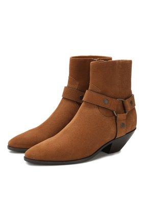 Женские замшевые ботинки SAINT LAURENT коричневого цвета, арт. 563757/BPN00   Фото 1