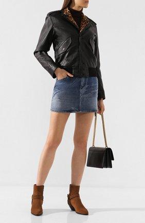 Женские замшевые ботинки SAINT LAURENT коричневого цвета, арт. 563757/BPN00   Фото 2