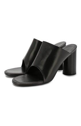 Женские кожаные мюли oval BALENCIAGA черного цвета, арт. 590999/WA8F4 | Фото 1