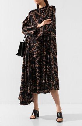 Женские кожаные мюли oval BALENCIAGA черного цвета, арт. 590999/WA8F4 | Фото 2