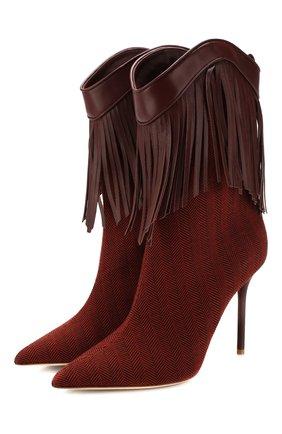 Женские текстильные ботильоны MALONE SOULIERS коричневого цвета, арт. PRESLEY MS 100-1 | Фото 1