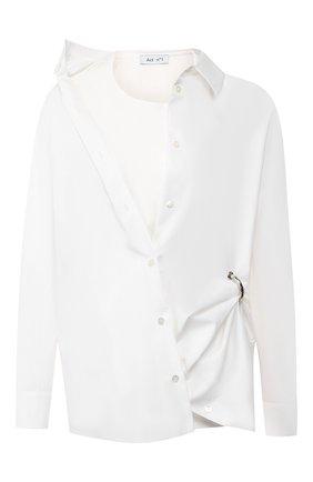 Женская хлопковая рубашка ACT N1 белого цвета, арт. PFT1912   Фото 1 (Материал внешний: Хлопок; Рукава: Длинные; Материал подклада: Хлопок; Принт: Без принта; Женское Кросс-КТ: Рубашка-одежда; Статус проверки: Проверена категория; Длина (для топов): Удлиненные)