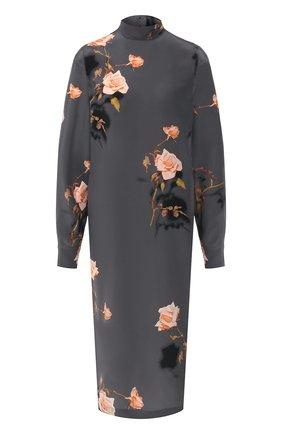 Женское шелковое платье DRIES VAN NOTEN серого цвета, арт. 192-11076-8200 | Фото 1