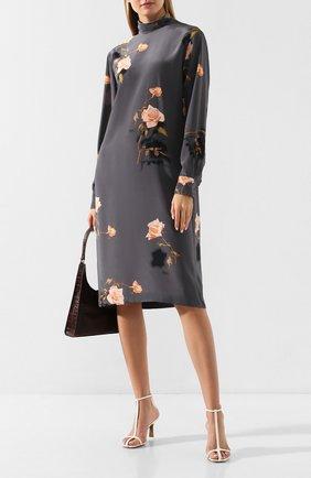 Женское шелковое платье DRIES VAN NOTEN серого цвета, арт. 192-11076-8200 | Фото 2