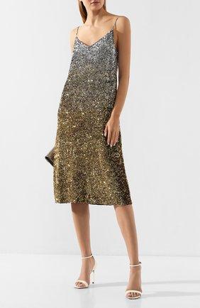 Женское платье с пайетками DRIES VAN NOTEN золотого цвета, арт. 192-11020-8383 | Фото 2