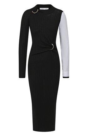 Женское шерстяное платье ACT N1 черного цвета, арт. PFK1903   Фото 1 (Статус проверки: Проверено, Проверена категория; Длина Ж (юбки, платья, шорты): Миди; Рукава: Длинные; Материал внешний: Шерсть; Случай: Повседневный)