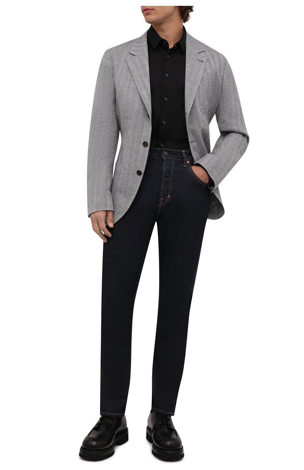 Мужская хлопковая сорочка GIORGIO ARMANI черного цвета, арт. 8WGCCZ97/JZ070 | Фото 2