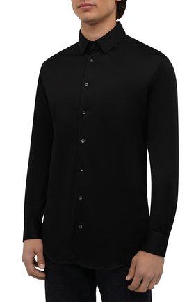 Мужская хлопковая сорочка GIORGIO ARMANI черного цвета, арт. 8WGCCZ97/JZ070 | Фото 3
