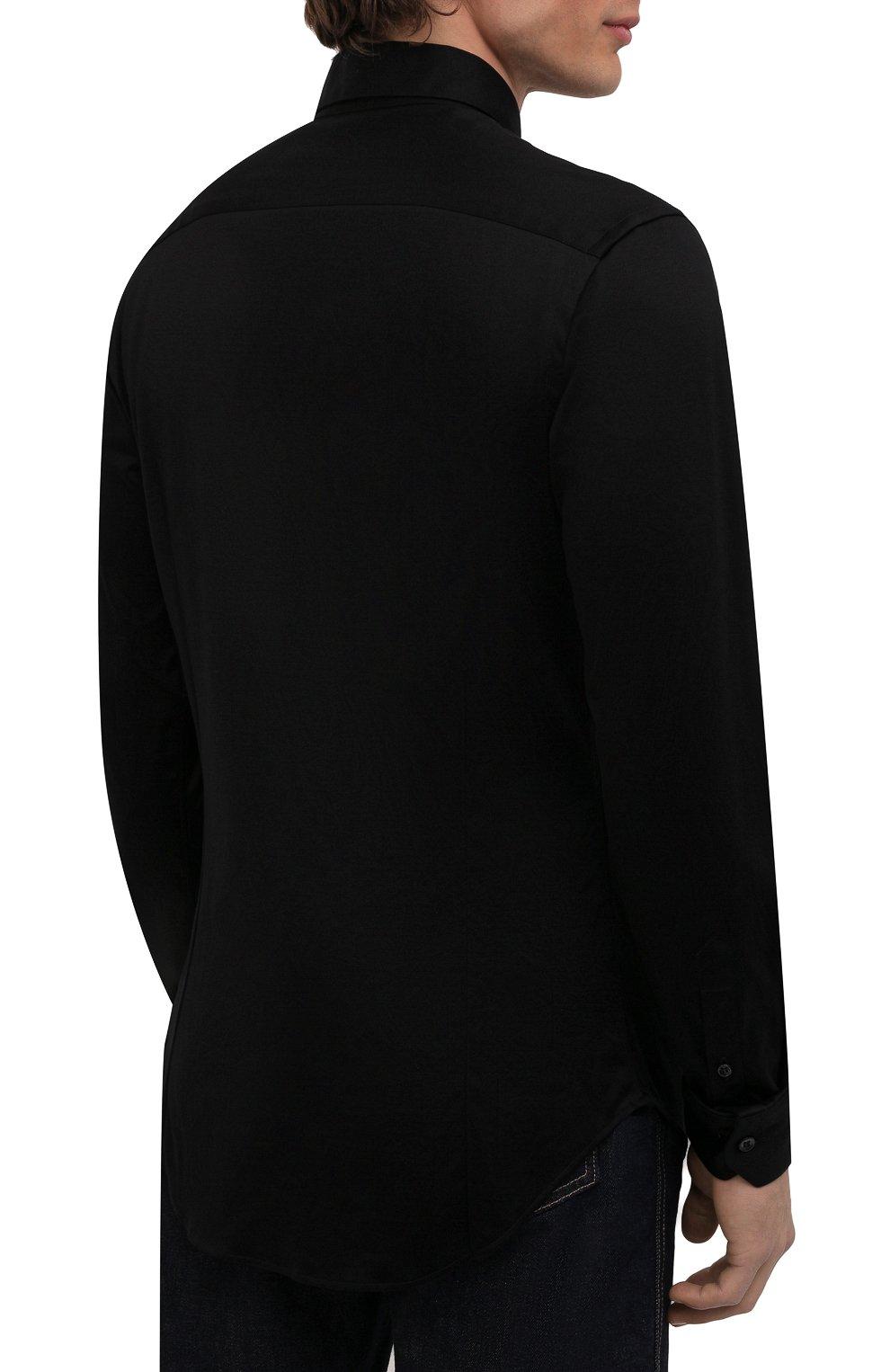 Мужская хлопковая сорочка GIORGIO ARMANI черного цвета, арт. 8WGCCZ97/JZ070 | Фото 4