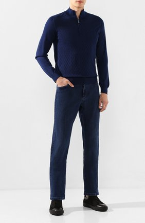 Мужские джинсы с отделкой из кожи аллигатора ZILLI темно-синего цвета, арт. MCS-00021-SSBC1/R001/AMIS | Фото 2