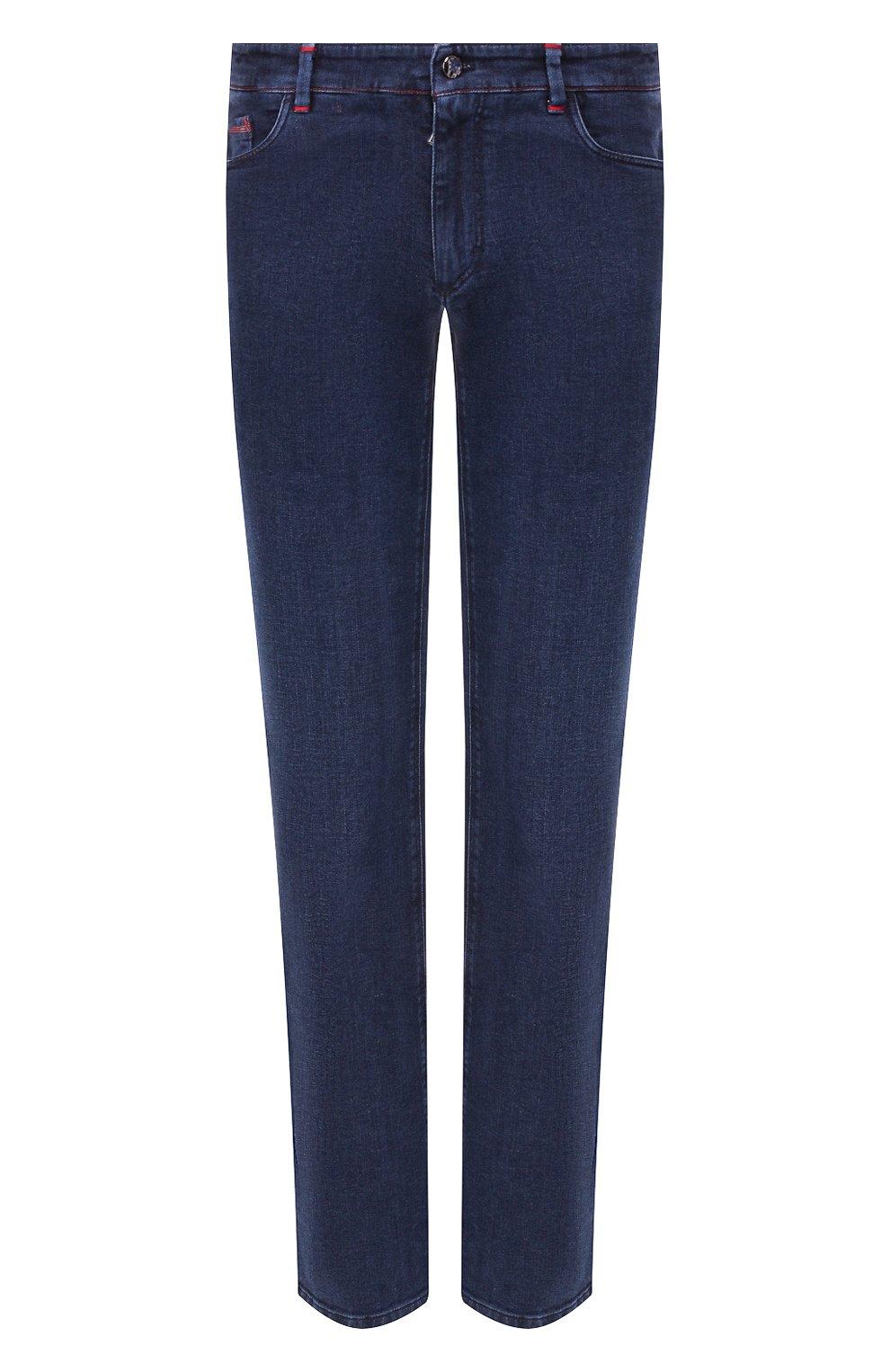 Мужские джинсы с отделкой из кожи аллигатора ZILLI темно-синего цвета, арт. MCS-00011-DEJC1/R001/AMIS | Фото 1