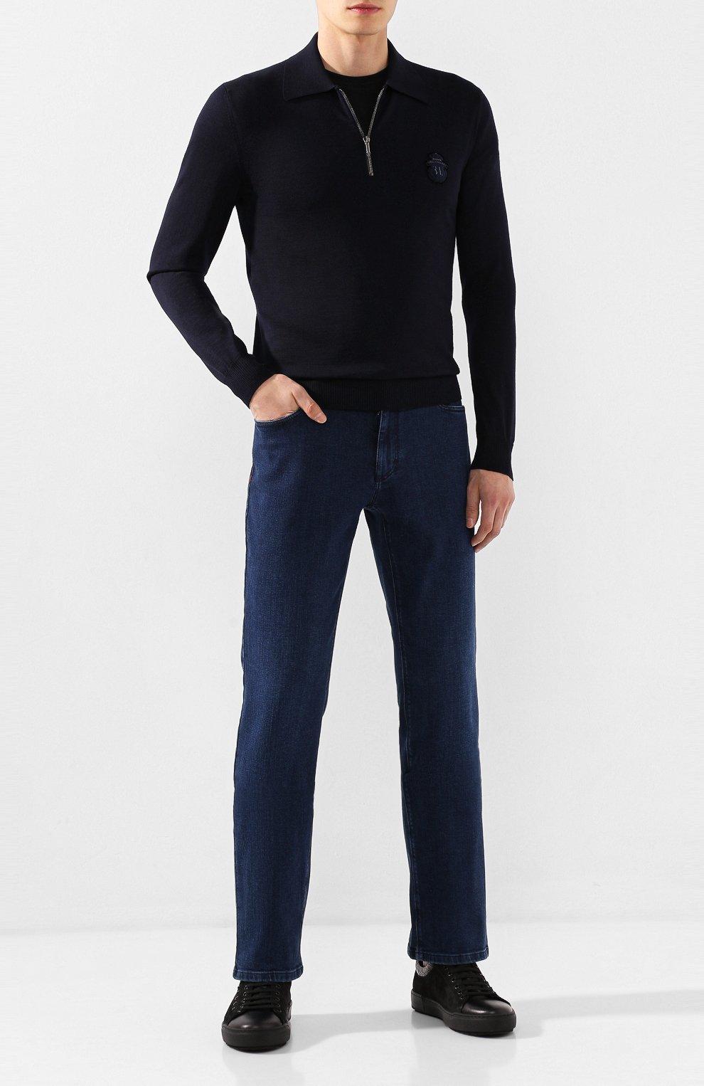 Мужские джинсы с отделкой из кожи аллигатора ZILLI темно-синего цвета, арт. MCS-00011-DEJC1/R001/AMIS | Фото 2