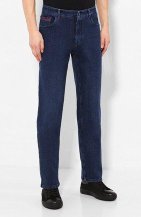 Мужские джинсы с отделкой из кожи аллигатора ZILLI темно-синего цвета, арт. MCS-00011-DEJC1/R001/AMIS | Фото 3