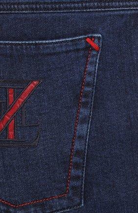 Мужские джинсы с отделкой из кожи аллигатора ZILLI темно-синего цвета, арт. MCS-00011-DEJC1/R001/AMIS | Фото 5