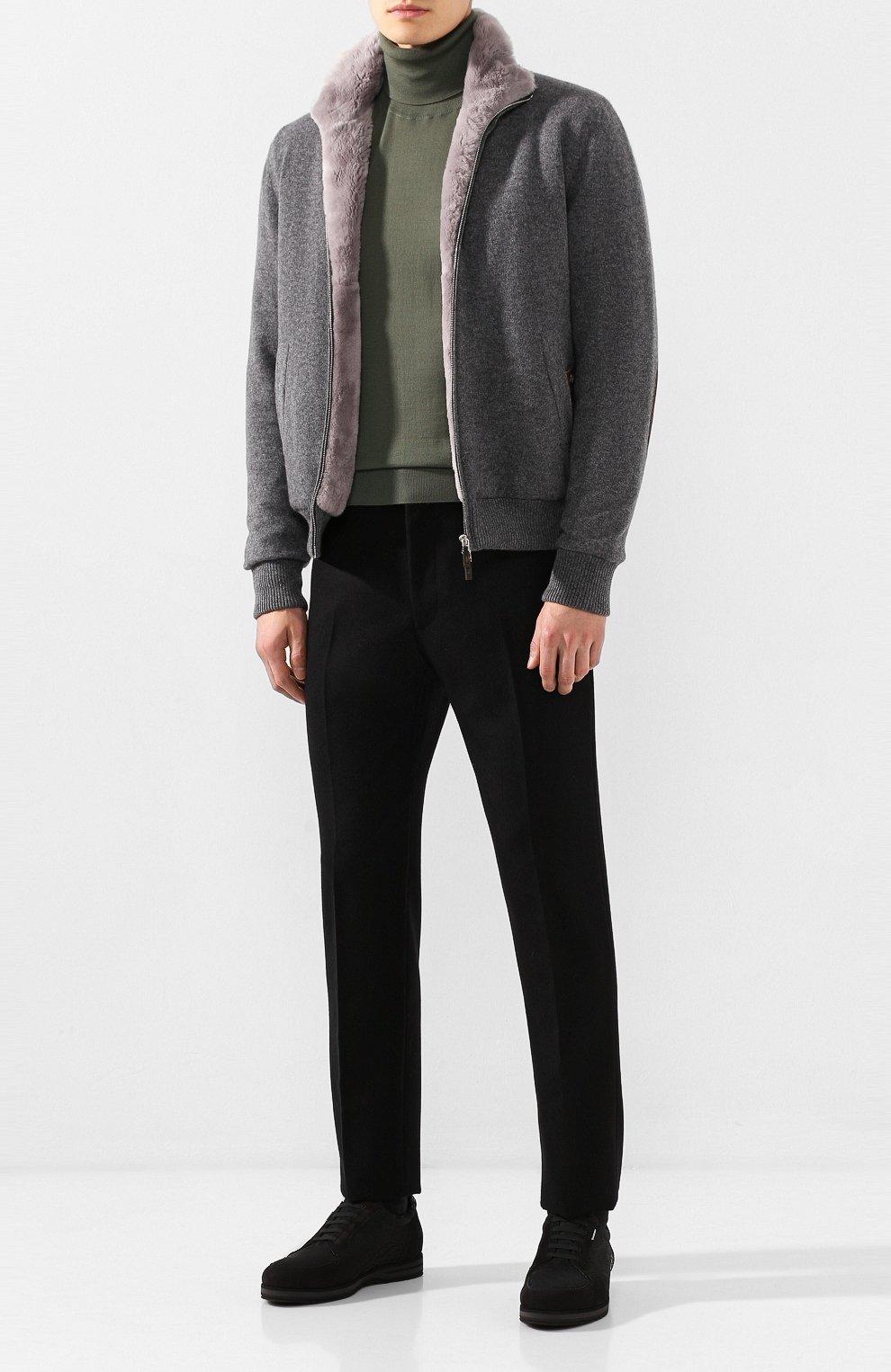 Мужские кожаные кеды ZILLI черного цвета, арт. ZV B13/016 | Фото 2