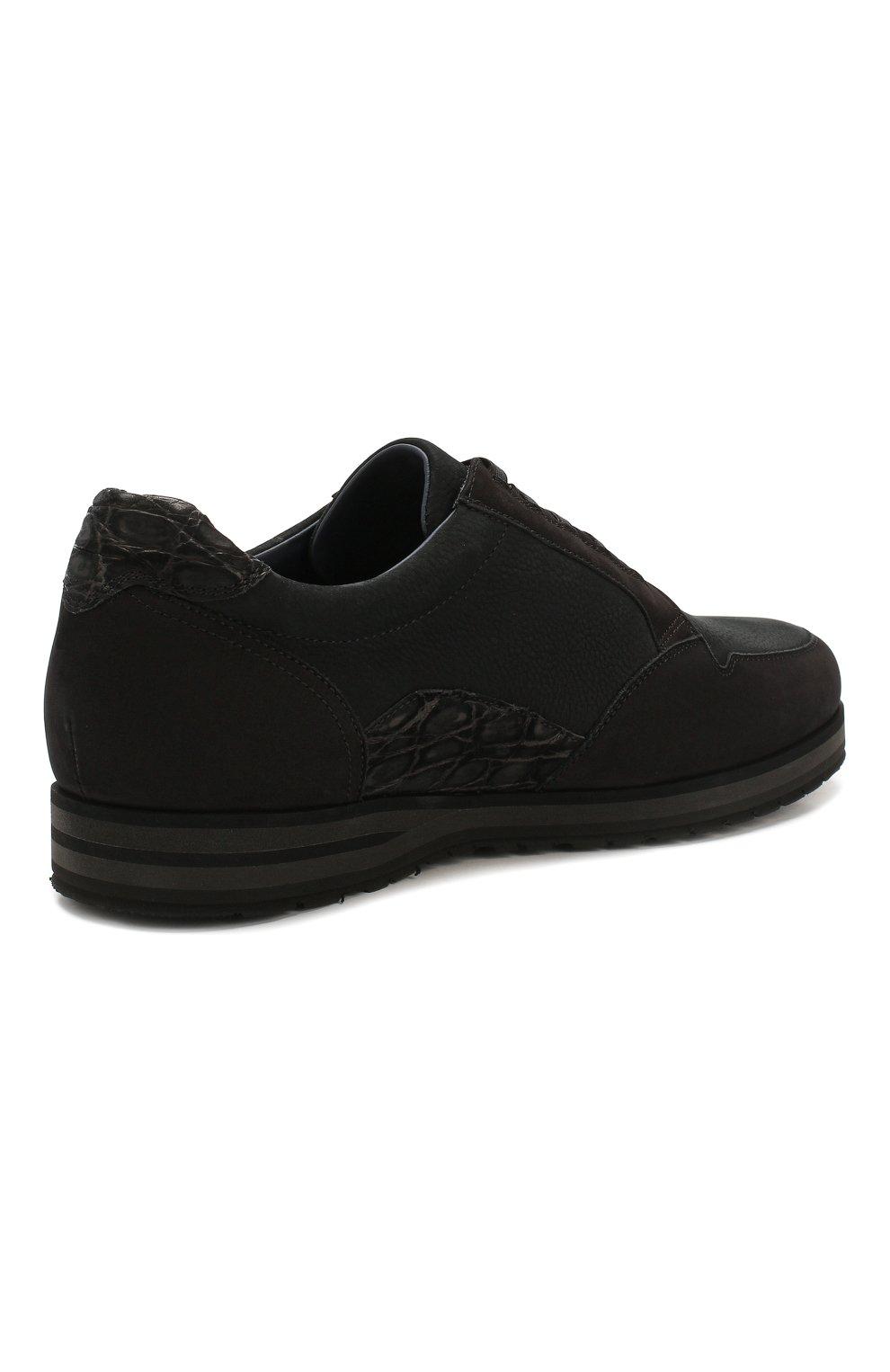 Мужские кожаные кеды ZILLI черного цвета, арт. ZV B13/016 | Фото 4