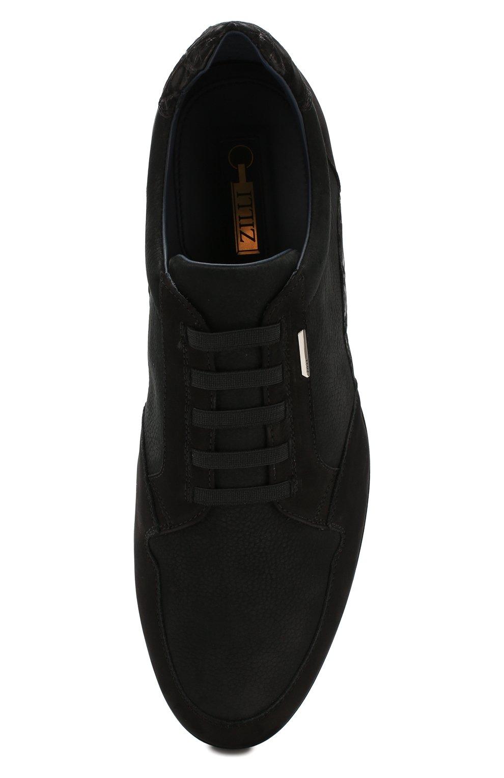 Мужские кожаные кеды ZILLI черного цвета, арт. ZV B13/016 | Фото 5