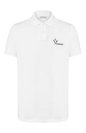Мужское хлопковое поло MONCLER белого цвета, арт. E2-091-83244-50-84556 | Фото 1