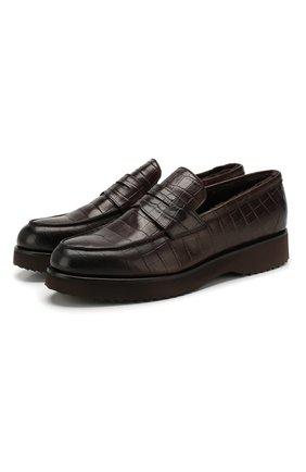 Мужские кожаные пенни-лоферы DOUCAL'S темно-коричневого цвета, арт. DU2483DAK0UM023TM06 | Фото 1