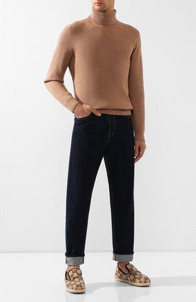 Мужские текстильные лоферы GUCCI бежевого цвета, арт. 574845/G3810 | Фото 2