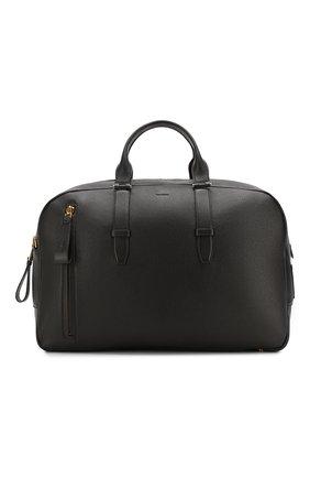 Мужская кожаная дорожная сумка TOM FORD темно-коричневого цвета, арт. H0362T-G02 | Фото 1