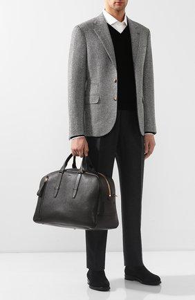 Мужская кожаная дорожная сумка TOM FORD темно-коричневого цвета, арт. H0362T-G02 | Фото 2
