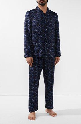 Мужская шелковая пижама ERMENEGILDO ZEGNA синего цвета, арт. N6H000880 | Фото 1