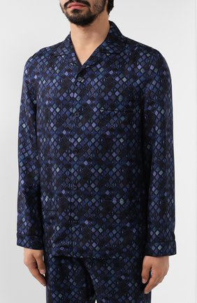 Мужская шелковая пижама ERMENEGILDO ZEGNA синего цвета, арт. N6H000880 | Фото 2