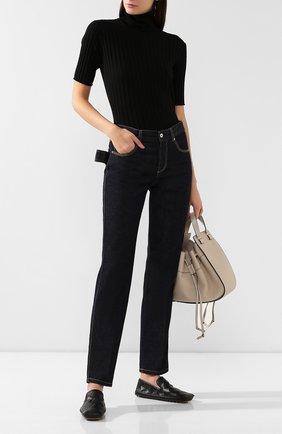 Женские кожаные слиперы BOTTEGA VENETA черного цвета, арт. 578398/VBPU0 | Фото 2