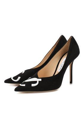 Женская замшевые туфли love 100 JIMMY CHOO черного цвета, арт. L0VE 100/JC/SPT | Фото 1