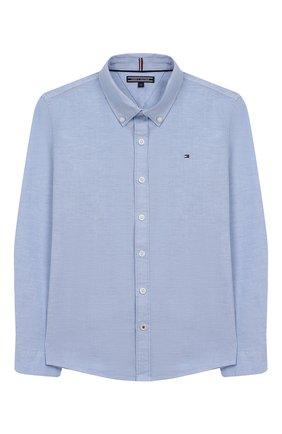 Детская хлопковая рубашка TOMMY HILFIGER голубого цвета, арт. KB0KB03968 | Фото 1