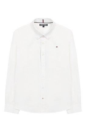 Детская хлопковая рубашка TOMMY HILFIGER белого цвета, арт. KB0KB03968 | Фото 1